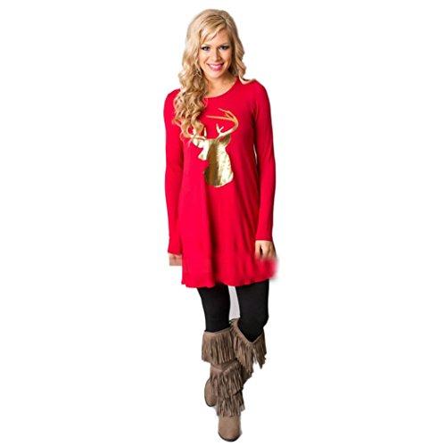 Long Christmas Elk Dress Kolylong Red Sleeve Round Collar Women Dress Casual YOwqP