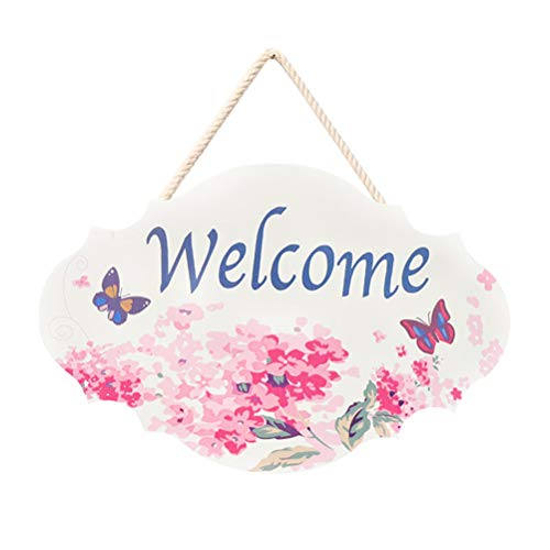 (Amosfun Welcome Sign Vintage Doorplate Plaque Wooden Hanging Door Sign Board for Home Cafe Shop Store Decor Wedding Christmas Valentine's Day Decoration)