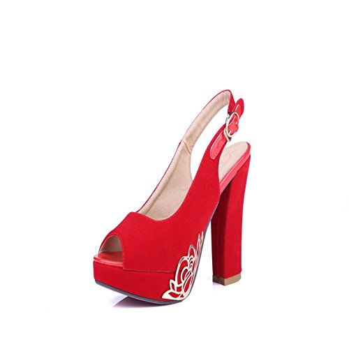 Solide Femme Heels High red Sandales Boucle balamasa q4wdFEE