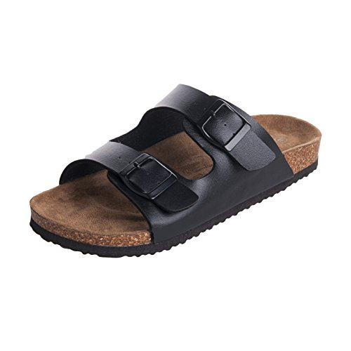 WTW Men's Arizona 2-Strap Cork Footbed Sandal Size 9 Black