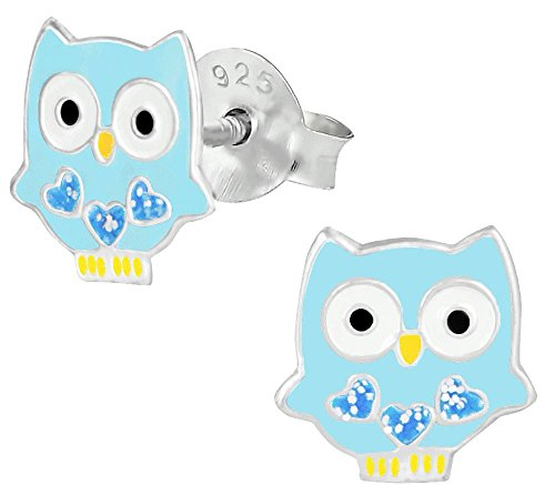 Hypoallergenic Sterling Silver Blue Owl with Glitter Hearts Stud Earrings for Kids (Nickel Free)
