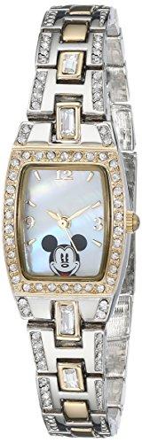 Disney Women's MK2043 Mickey Mouse Two-Tone Bracelet (Graphic Rhinestone Case)
