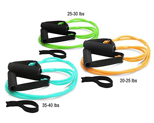 3 Deluxe Heavy Duty X-Safe Resistance Bands: 25 lbs 30 lbs 4