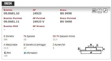 Brembo - Kit de discos + pastillas de freno delanteras - Códigos respectivos: 09.8681.11 y P50057: Amazon.es: Coche y moto