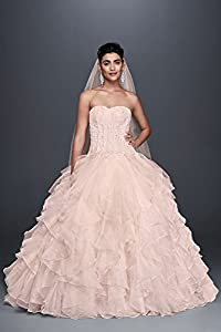 Oleg Cassini Strapless Ruffled Skirt Wedding Dress Style CWG568