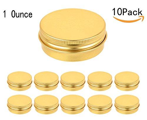 JKLcom Golden Metal Tin 10Pack,Round Screw Top Flat Metal Tin Container Metal Steel Tin Jars (1 - Tins Gold Favor