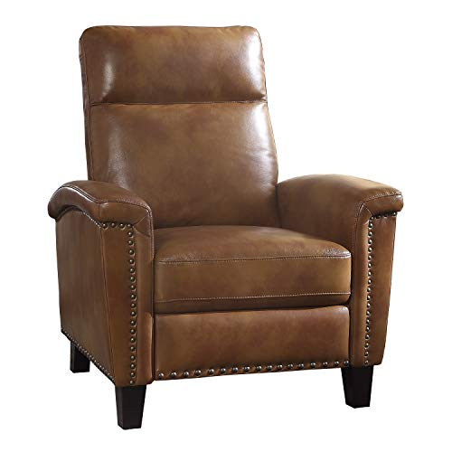 Lexicon Leather-Like Fabric Push Back Recliner, Brown (Recliner Nailhead)