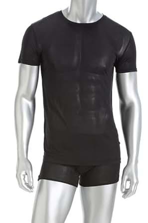 Mens crew neck t shirt 100 silk black for Mens silk shirts amazon