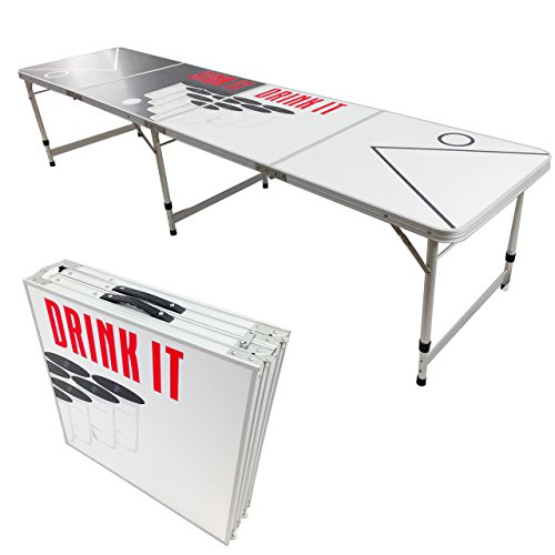 NEW 8' BEER PONG TABLE ALUMINUM PORTABLE ADJUSTABLE FOLDING INDOOR OUTDOOR TAILGATE PARTY GAME SINK IT DRINK IT # 10 by PONGBUDDY