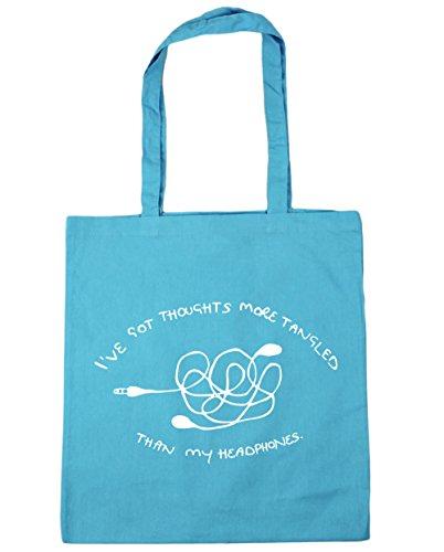 "HippoWarehouse - Bolsa de mano, para compras, gimnasio y playa, diseño con texto en inglés ""I've got thoughts more tangled than my headphones"", 42 x38 cm, 10 litros azul (Surf Blue)"