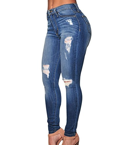 Femme Bleu Taille L Skinny Crayon Pantaon Haute Dchir M Jeans Brinny XL Taille Bleu 6BxwSqAA