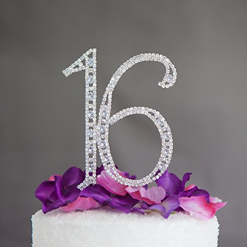 Sweet-16-Cake-Topper-16th-Birthday-Silver-Party-Supplies-Decoration-Ideas-Crystal
