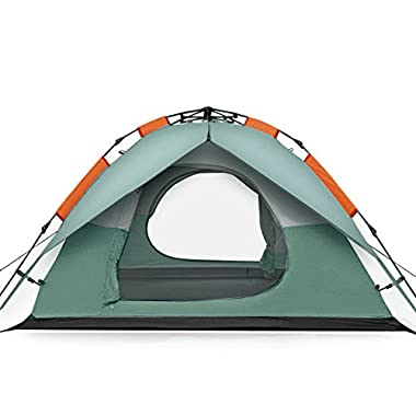 FiveJoy Instant 3 Person 3 Season Dome Tent - Double-Wall Two-Door Bathtub Floor Freestanding - Set Up and Tear Down in Just Seconds