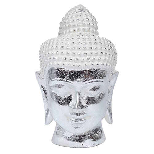 MyGift 8-Inch Vintage Rustic Silver Resin Meditating Buddha Head Decorative Statue Sculpture