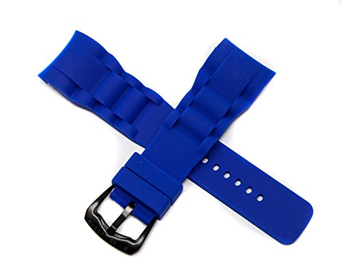 Swiss Legend 29MM Blue Silicone Rubber Watch Strap Stainless Black Buckle for 47mm Commander Watch