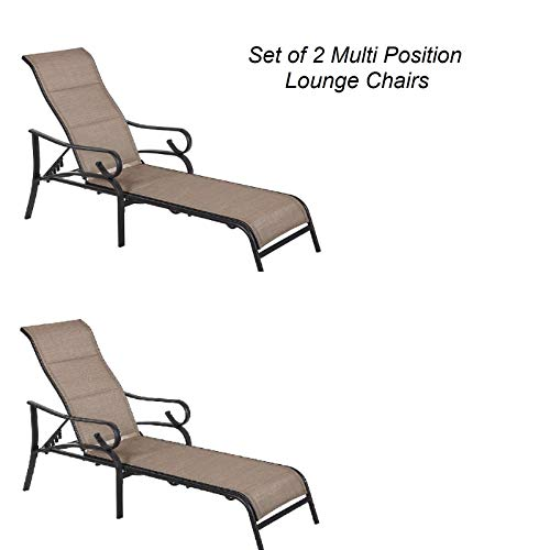 (2 New Chaise Lounge Loungers Chairs Outdoor Pool Slingback Adjustable)