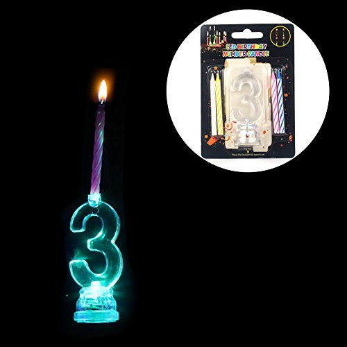 LOGUIDE Birthday Candles,Birthday Cake Candles,Number Birthday Candles,Color Changing Cake Topper 0-9 Molded Number Candles Birthday Decor with 4 Wax Candles(Number ()