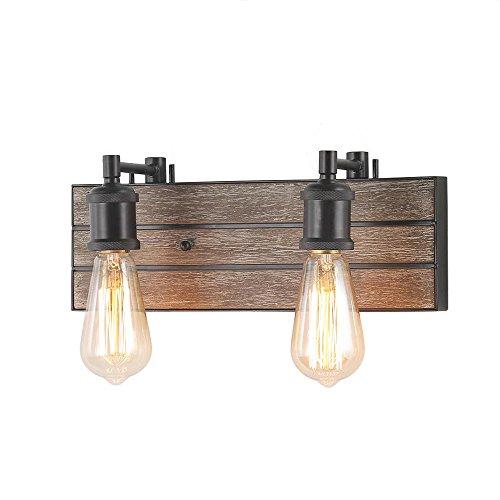 (LOG BARN 2 Lights Bathroom Vanity Light in Real Antique Wood and Dark Brown Metal Finish, 13.8