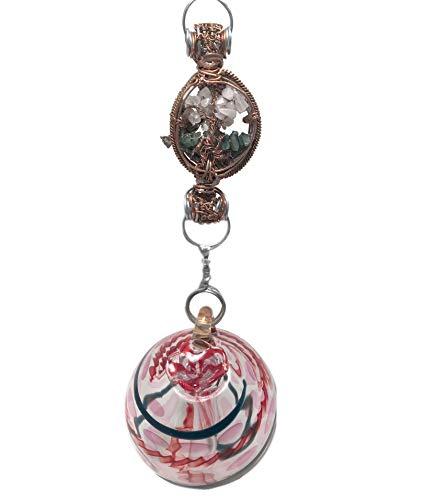 Blown Glass Hummingbird Feeder with Hummingbird Charm and Gemstones on a Handcrafted Chain, Rose Quartz Garden