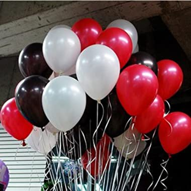 10 Inch White & Black & Red Party Balloons for Party Decoration 100 Pcs/lot