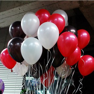 10 Inch White & Black & Red Party Balloons for Party Decorat