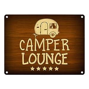 trendaffe - Camper-Lounge Metallschild mit Wohnwagen Motiv Wohnmobil Urlaub Hobby Gast Gäste