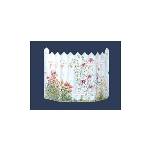 Stupell Home Décor Floral Picket Fence 3-Panel Decorative Fireplace Screen, 45 x 0.5 x 31, Proudly Made in (Picket Fence Screen)