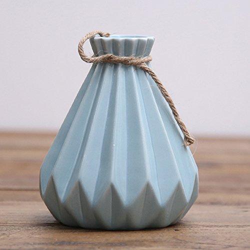 Vase Victorian Bud (Cone Ceramic Flower Vase, Shabby Chic Small Bud Vase, Decorative Floral Vase Vintage Home Decor, Table Top Centerpieces (Blue))