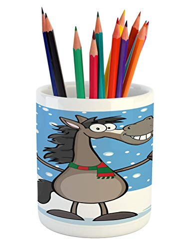 - Ambesonne Smile Pencil Pen Holder, Mascot Horse with a Snowy Winter Landscape Scene on The Background, Printed Ceramic Pencil Pen Holder for Desk Office Accessory, Deep Sky Blue and Multicolor