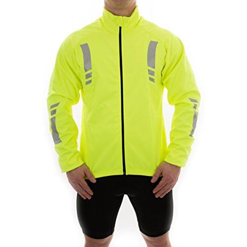 OpenRoad Herren Fahrradjacke winddicht, Thermo, hohe visbility spritzwassergeschützt, reflektierend, Gelb L Gelb - gelb
