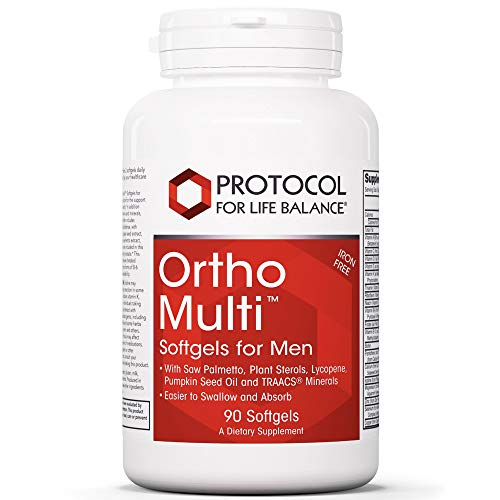 Protocol For Life Balance - Ortho MultiTM Softgels for Men (Iron Free) - with Saw Palmetto, Plant Sterols, Lycopene, Pumpkin Seed Oil and TRAACS Minerals, Easier to Swallow and Absorb - 90 Softgels