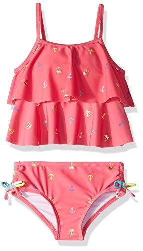 Nautica Big Girls' Tankini Swim Suit, Anchor Light Pink, M8/10 - Gold Swim Bottom