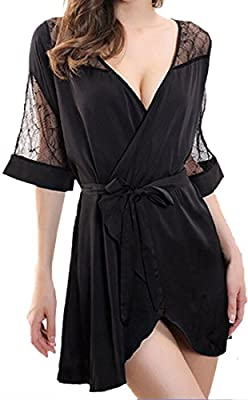 ASL Women's Solid Color Thin Short Sexy Bathrobe