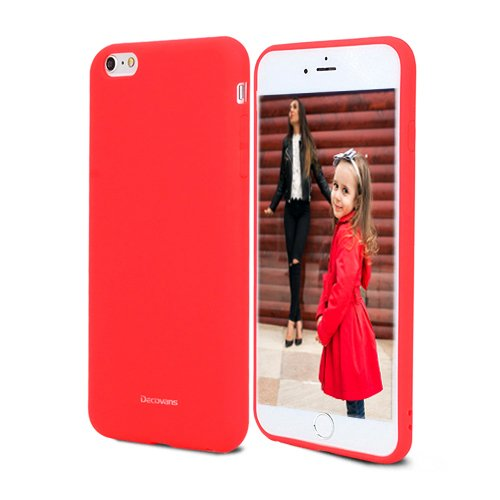 Silicone Rubber Case for iPhone 6, Liquid Silicone Gel Soft Rubber iPhone 6S Case Decovans DP28 Slim Drop Protection Cell Phone TPU Shell Cover Cases for Cute Little Girls Children - Red (Red Case Cover Silicone)