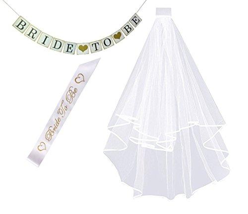 White Double Ribbon Edge Bridal Wedding Veil with
