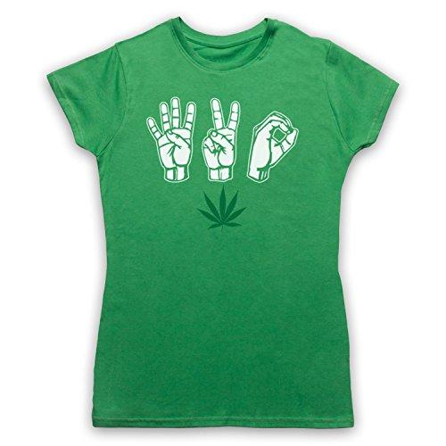420 Cannabis Leaf Weed Pot Culture Fingers Camiseta para Mujer, Verde, Medium