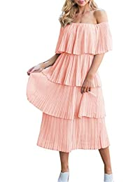 Women's Off The Shoulder Sleeveless Tiered Ruffle Pleated Casual Midi Dress