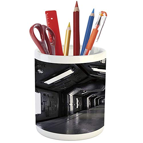 Pencil Pen Holder,Outer Space,Printed Ceramic Pencil Pen Holder for Desk Office Accessory,Dark Futuristic Corridor of Spaceship Adventure Technology Sci Fi Art Prints ()