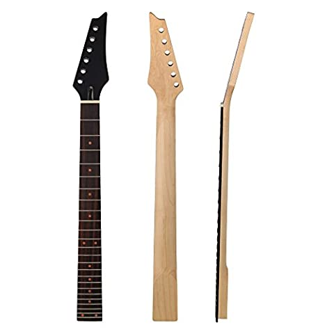 BQLZR Black 24 Frets Square Heel Maple Neck Fingerboard Replacement for 6 String Electric Guitar (Electric Guitar Neck Replacement)