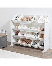 Humble Crew Kids Toy Storage Organizer, 16 Storage Bins, White/White