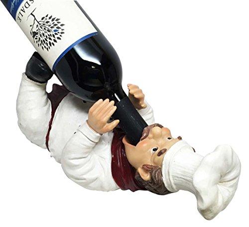 Chef Chardonnay Drunken French Kitchen Wine Bottle Holder Figurine ()