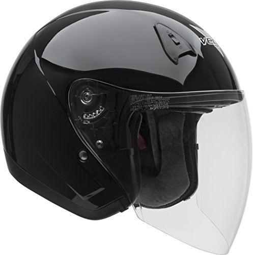 Vega Helmets VTS1 Open Face Motorcycle Helmet with Inner Sunshield – DOT Certified Full Face Shield & Visor Motorbike Helmet for Cruisers Street Bike Scooter Touring Moped Moto (Black, (Road Vented Full Face Helmets)