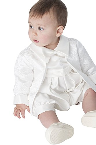 Newdeve 2 Pieces Baby-boys White/Ivory Christening Gowns Baptism Suits (3-6 months, White) -