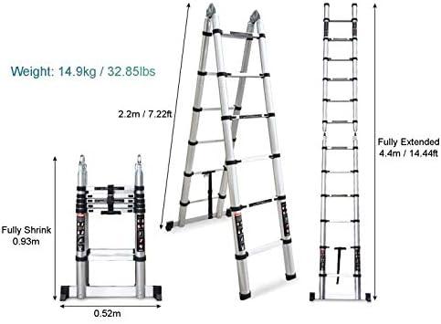 YUEDAI Multipropósito de Aluminio Portable Escalera telescópica Extensible Bricolaje A-Frame Escalera de Pasos (Capacidad de Carga de 150kg / 330lb) (Size : 14.44ft/4.4m=2.2m+2.2m): Amazon.es: Hogar