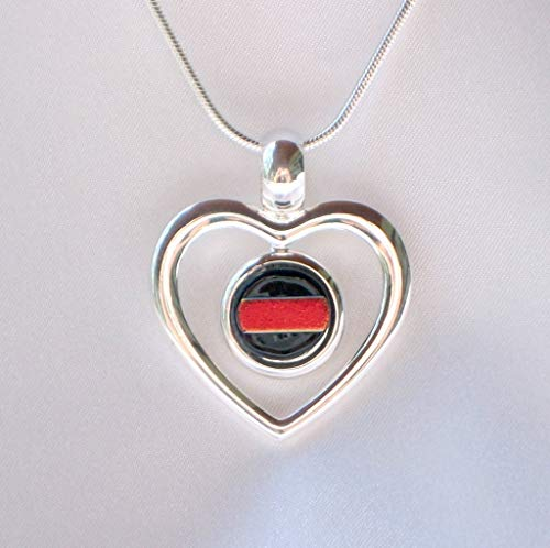 THIN RED LINE Firefighter Jewelry Ladies Silver Love Heart Dichroic Fused Glass Pendant Necklace (Jewelry Dichroic Fused Glass)