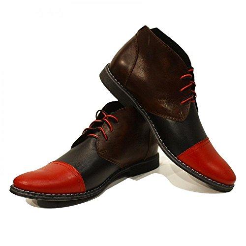 PeppeShoes Modello Cirillo - Handgemachtes Italienisch Leder Herren Bunt Stiefeletten Chukka Stiefel - Rindsleder Weiches Leder - Schnüren