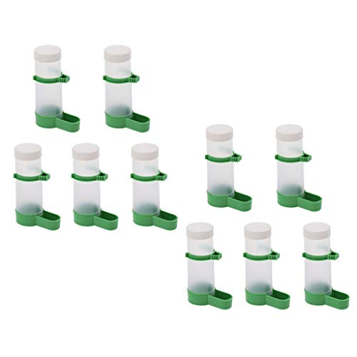 Agordo 10x Bird Drinker Auto Watering Station for Budgie Parrot Feeder Waterer Clip