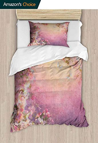 Temox Art Full Queen Duvet Cover Sets, Enchanted Cherry Blossom Petals Field Shabby Chic Floral Garden Spring Picture, Kids Bedding-Does Not Shrink or Wrinkle,71 W x 79 L Inches, Pale - Cover Enchanted Set Duvet