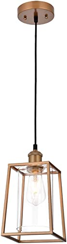 COTULIN Modern Glass Pendant Light,Pendant Lighting with Metal Cage Shade for Kitchen Island Dining Room,Pendant Light Fixture for Hallway Bar,Gold