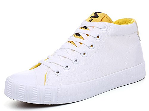 Idifu Heren Comfortabele Hoge Top Veters Plat Canvas Sneakers Skateboard Schoenen Wit